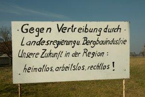Protest gegen Enteignung für Braunkohletagebau