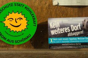 Widerstand gegen Braunkohletagebau, Schaukasten der Kirche von Atterwasch